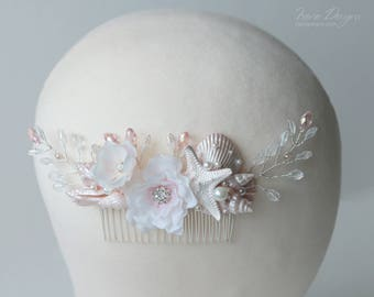 Pale Pink and White Beach Wedding Hair Comb. Seashell Starfish Pearls Crystals & Flower Hair Comb. Beach Wedding Headpiece