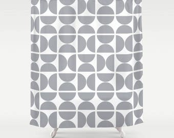 36 colours, Large OR Small Circles Pattern Shower Curtain, Scandinavian style, Dove Grey geometric decor, Nordic style bathroom decor