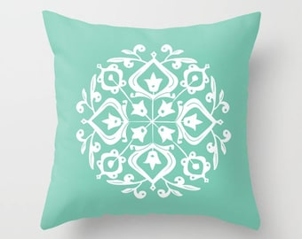 36 colours, Lucite Green, Persian Glaze Pillow, Folk Motif, Flower Pattern, White floral design, Faux Down Insert, Indoor or Outdoor options