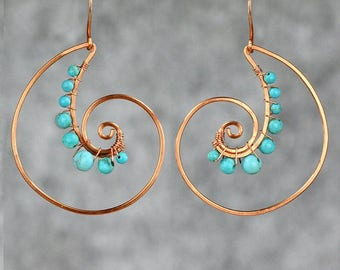 Copper wiring turquoise shell hoop Rococo earring handmade US free shipping Anni Designs