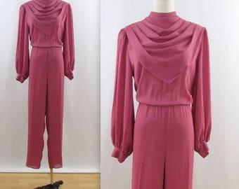 SALE Dark Rose Chiffon Jumpsuit - Vintage 1980s Women's Romper Pantsuit in Medium by Farouche