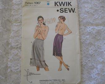Vintage Kwik Sew Sewing Pattern Misses Half Slip Undergarment   Size XS - S - M- L  Uncut