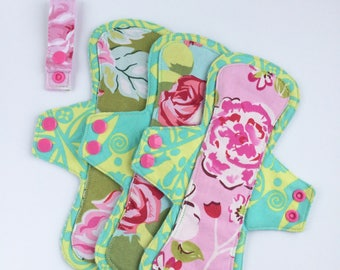 Cloth pad set, cloth pads, menstrual pads, exposed core pad