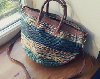 Vintage weaved handbag boho tribal style