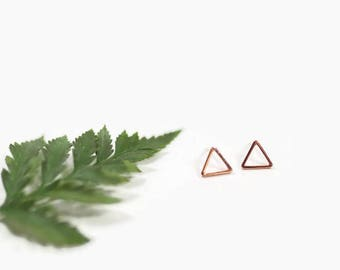Triangle Studs . Rose Gold Stud Earrings . Rose Gold Earring Studs - Rose Gold Earrings - Open Triangle