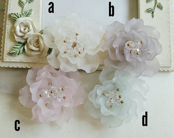 40 mm Matte Frosted Translucent With Crystal Camellia Resin Flowers (t.i)