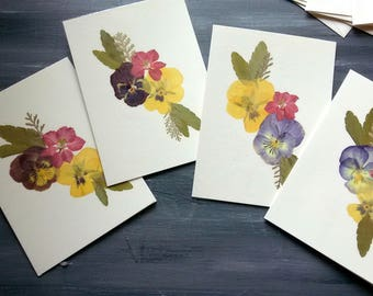 BOTANICAL NOTE CARDS - Set of 4 Pressed Flowers Cards, Preserved Pansies and Larkspur Original Art Note Card, Card Gift Set, Thank You Card