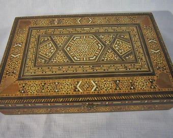 Vintage Mosaic Inlay Wood Box