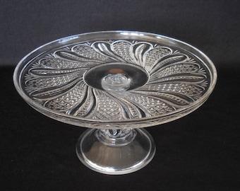 McKee  Feather Pressed Glass, Swirl, Diamond Design Cake Stand, Antique EAPG