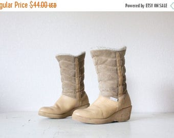 SALE Vintage Suede Leather Wedge Boots Sz 7/7.5