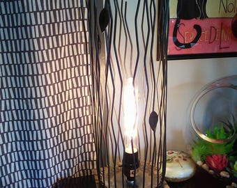 Upcycled Metal Twig and leaf lamp