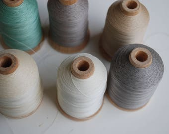 6 spools Vintage Wooden Spool of YLI  Cotton Quilting Thread