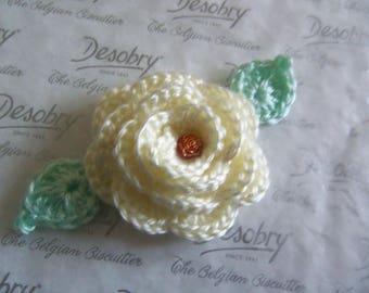 Light Yellow Crochet Flower Applique. 3-D Crochet Flower Applique.