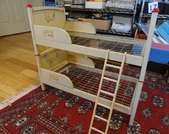 Doll Bunk Bed Doll E Bunk Bed Amsco tin with ladder vintage original paint with decals