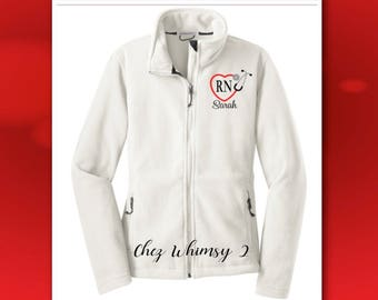 RN Jacket, Nurse Jacket, Full Zip Fleece Jacket, Heart Stethoscope Monogram, RN Gift, Embroidered Nurse Jacket, LPN, ems