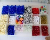 New 2 lb Lot MIXED BEAD in CASE Tri Stars Pony Round Turtles 4mm-25mm Glitter Jewelry Craft