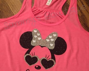 Personalized Women's Minnie Mouse Tank Top! Womens, Disney Tank, Flowy Racerback Tank, Disney shirt, Glitter, Family Disney Shirts