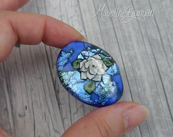 Cream Tattoo Style Rose on Blue, Lampwork Focal Bead