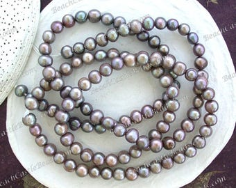 2 Strands Sale Beads, Destash Beads, Light Iris Taupe Luster Fresh Water Pearls, Destash Potato Shape Fresh Water Pearls  DS-911