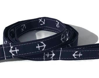 Dog Leash in Navy Anchors for Small to Large Dogs