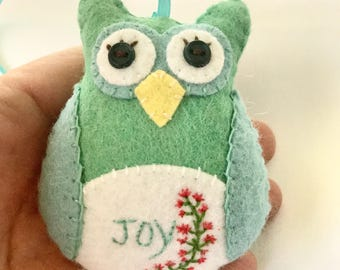 Felt Owl Ornament, Sea green Hanging Owl, Inspiration Owl, Stuffed Owl, Hand Stitched Owl
