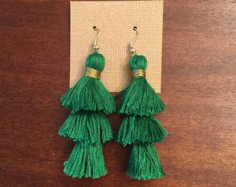 Emerald Fringe Earrings