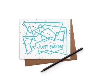 Birthday Card - Playful Lines - Greeting Card - Digitally Printed A2 Cards w/ envelope