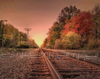 Summer/Fall Railroad Tracks digital backdrop/background sunrise, rails, trees, autumn morning photoshop background digital download