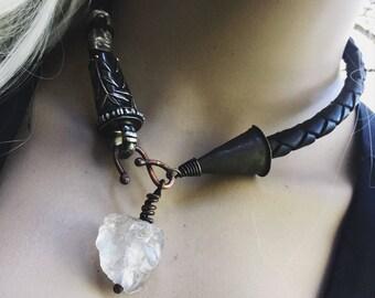 Raw quartz necklace, braided leather rope | raw crystal necklace, leather necklace, rough quartz necklace, rough cut gemstone