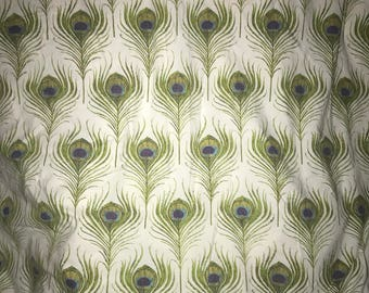 Vintage Peacock feather twin flat sheet hard to find