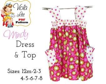 Mindy Girl's Dress Pattern pdf. Girl's Sewing Pattern. Girl's Top Pattern, Summer Dress Sewing Pattern. Toddler Dress Pattern. PDF Download