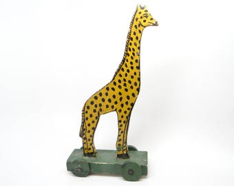 Antique Giraffe Pull Toy, Hand Made,  Hand Painted Wood, Vintage for Christmas