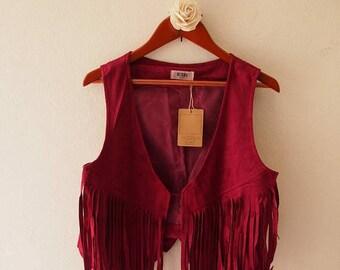 Mid Year SALE Vintage Leather Cardigan Burgundy Red fringe Boho style (US4-6)