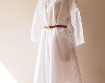 White Vintage Dress Heirloom Style Dress Long Sleeve Cotton Sheer Dress Annabelle Doll Dress Pajama Dress Free Size