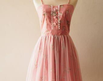FAIRY ROMANCE - Tulle Dress Pink Floral Dress Tutu Skirt Dress Special Occasion Dress Rose Rustic wedding Dress Summer Dress