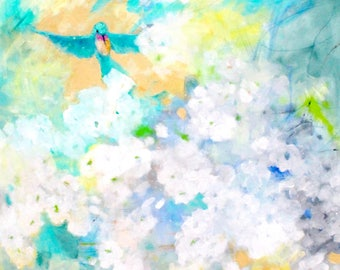 "Large Abstract Floral Painting on Canvas. Hummingbird, White Flowers, ""The Visitor"" 30x40"""
