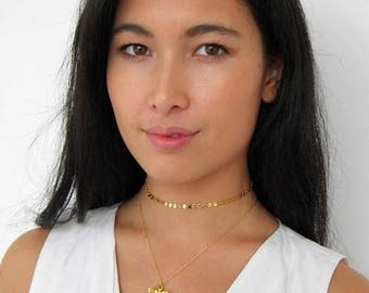 SALE gold coin choker necklace