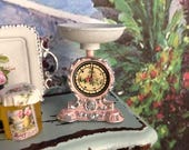 RESERVED f Cynthia pink w golden accents Dollhouse Miniature Shabby Chic Metal Vintage Weight Scale, Shop Scale with Pink Roses