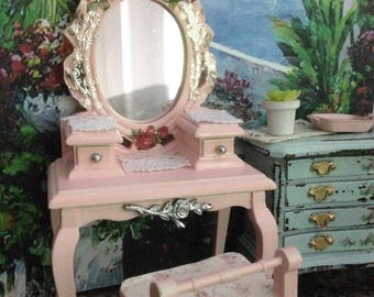Dollhouse Miniature Shabby Chic Pink Farmhouse Vintage Style Vanity and Bench