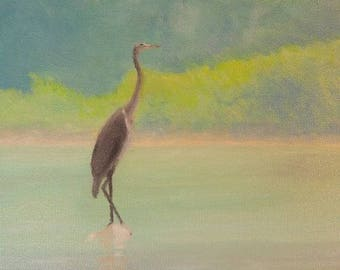 Blue Heron oil painting