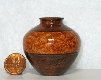 Afzelia and Walnut Turned Wood Small Vase