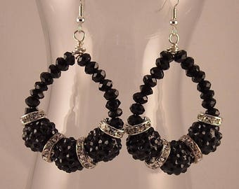 Elegant Black & Silver Rhinestone Ball Bead Hoop Earrings