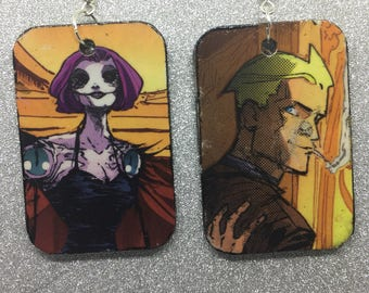 Upcycled Constantine Comic Book Earrings
