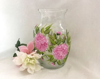 Hand painted pink hydrangea vase personalizable