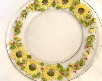 Sunflower hand painted glass platter for entertaining