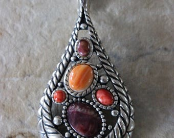 Beautiful Large Artist Signed Carolyn Pollock Sterling Silver Multi Stone Necklace Pendant