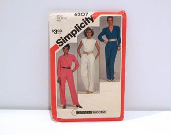 Jumpsuit 1980s Vintage Simplicity 6207 Sewing Pattern V Neck Shawl Collar Wrap Front Sleeveless Never Used FF Womens Size Small Bust 32 34
