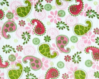 ON SALE Paisley Minky, Pink Minky, Smooth Minky, Green Minky, Soft Fabric, 1 Yard Fabric