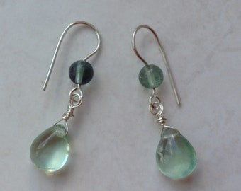 Silver Earrings with Rainbow Fluorite Stones Contemporary Dangly Briolette Stone Earrings