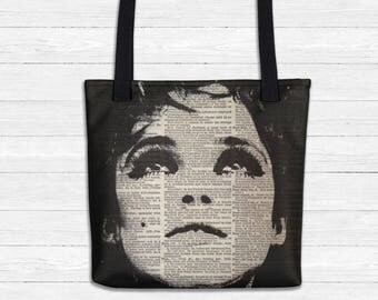 EDIE Sedgewick TOTE Bag, Market Bag, Beach Bag Black and White Mod Warhol Dictionary Art Book Bag, Grocery Tote, Factory Girl School Bag